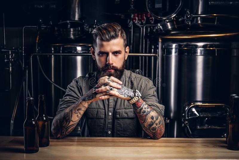 Porträt eines nachdenklichen tätowierten Hippie-Mannes mit stilvollem Bart und des Haares im Hemd in der indie Brauerei stockfotografie