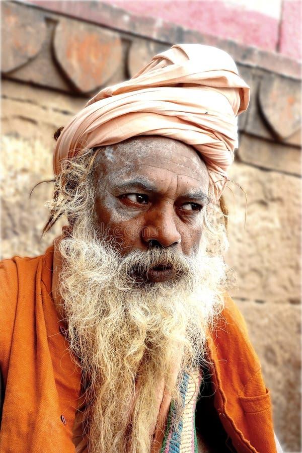 Porträt eines Naga Sadhu lizenzfreies stockbild