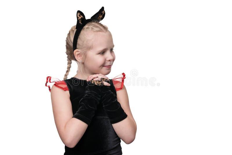 Porträt eines netten Katzenmädchens lizenzfreies stockbild