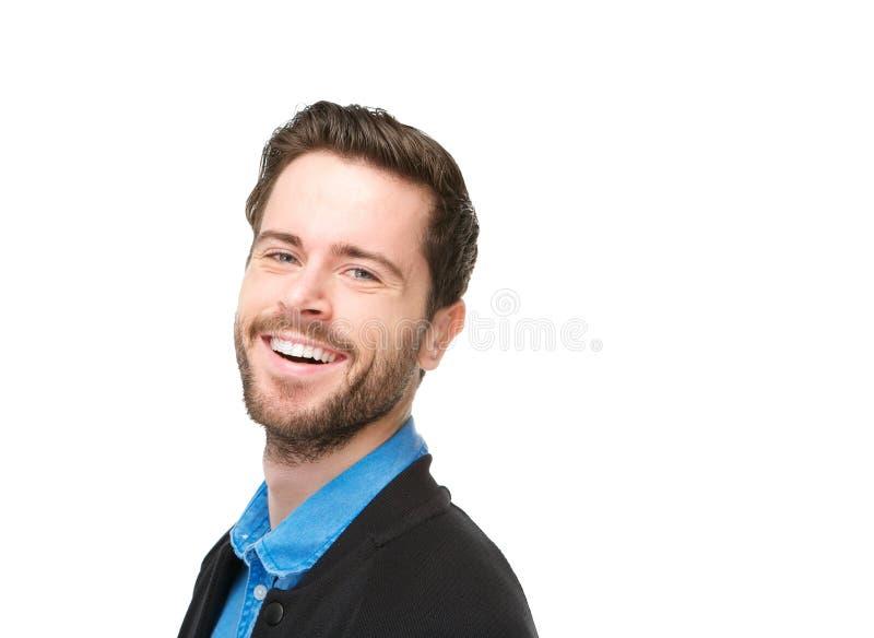 Porträt eines reizend jungen Mannes mit dem Bartlachen stockfoto