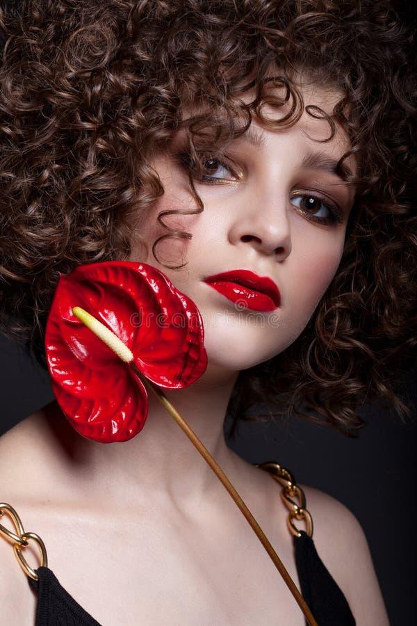 Porträt eines schönen jugendlich Mädchens mit hellem Make-up Mit Afrolocken und roter Lippenstift und eine rote Blume auf dem Ges lizenzfreie stockfotos