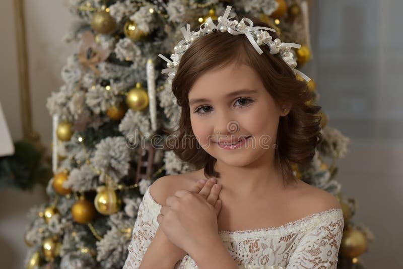 Porträt eines schönen kleinen Brunette mit großen Augen stockfotografie