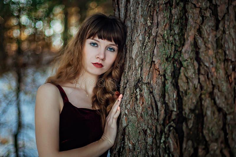 Porträt eines schönen Mädchens in einem dunklen langen Kleid, das unter den Bäumen im Winterwald allein steht lizenzfreie stockfotos