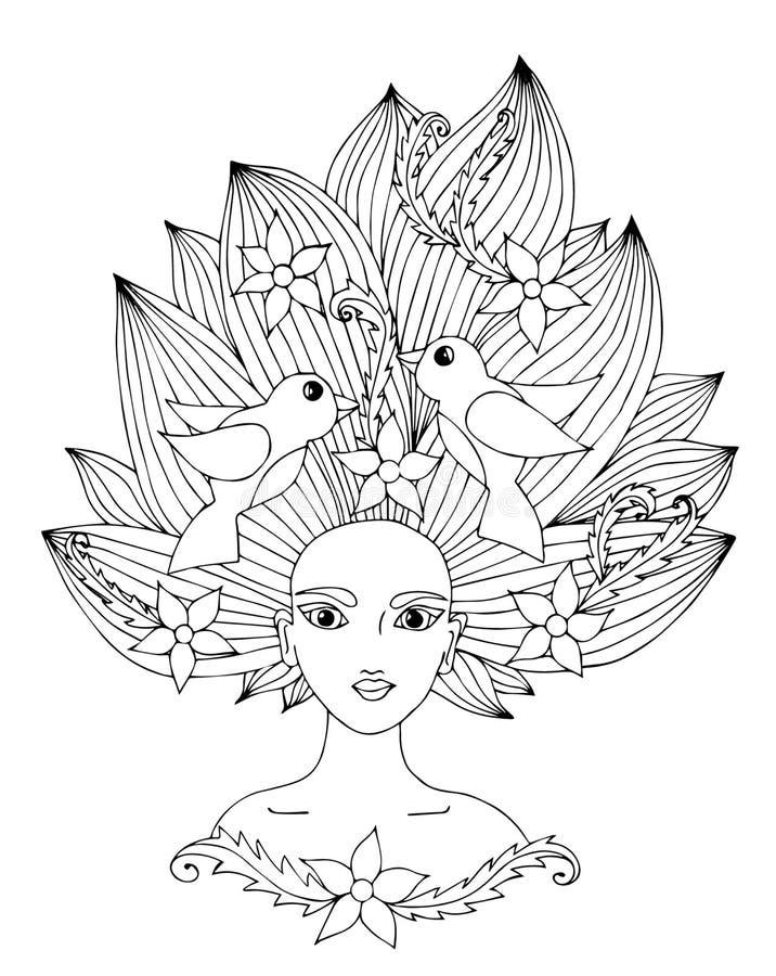 Porträt eines schönen Mädchens mit dem langen Haar mit Blume und Vogel vektor abbildung