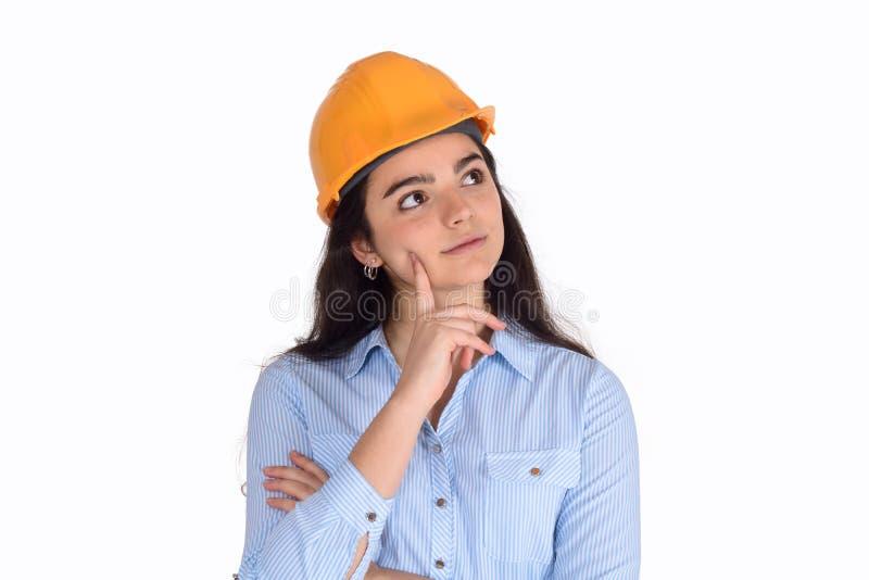 Porträt eines schönen weiblichen Architekten stockfoto