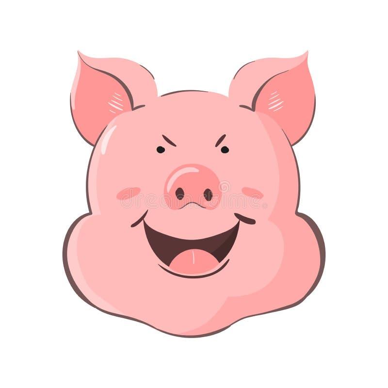 Porträt eines Schweins Ferkelkopf mit Gefühlverschlagenheit Nettes piggy schlaues vektor abbildung