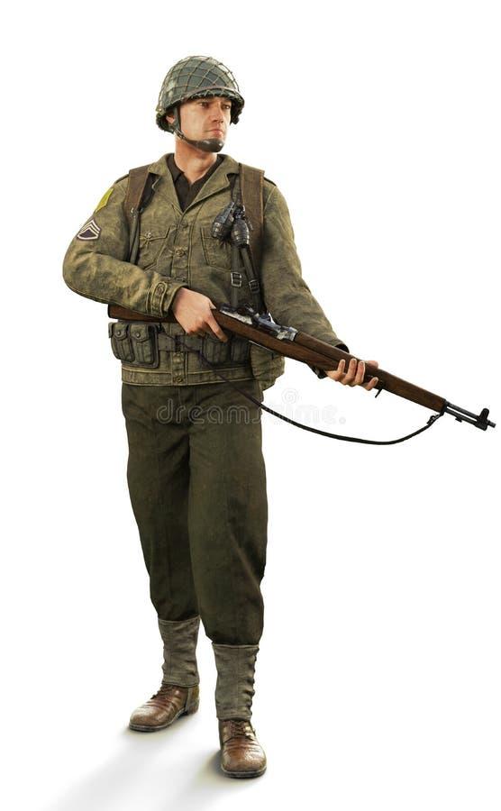 Porträt eines uniformierten männlichen Kampfsoldaten des Weltkriegs 2 auf einem lokalisierten weißen Hintergrund vektor abbildung