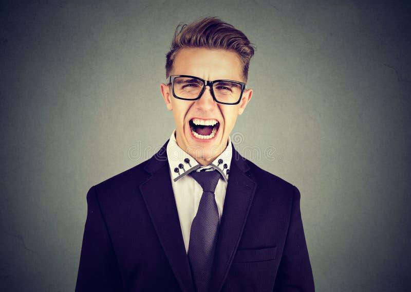 Porträt eines verärgerten schreienden Geschäftsmannes stockbilder