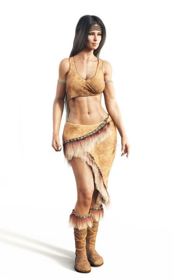 Porträt eines weiblichen tragenden Trachtenkleids des amerikanischen Ureinwohners auf einem weißen Hintergrund lizenzfreie abbildung
