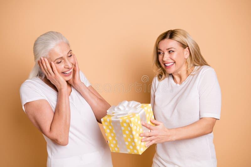 Porträt erstaunten reizend nette Punkt-Band giftbox der Muttertochter Elternschaft beeindruckten erhalten, Jahrestag 8 zu senden lizenzfreie stockfotos