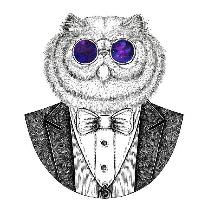 Porträt flaumige der gezeichneten Illustration persische Katze Hippies Tierhand für Tätowierung, Emblem, Ausweis, Logo, Flecken,  stock abbildung