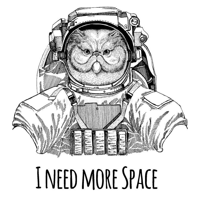 Porträt flaumigen persische Katze Astronauten Raumanzug Übergeben Sie gezogenes Bild des Löwes für Tätowierung, T-Shirt, Emblem,  lizenzfreie abbildung