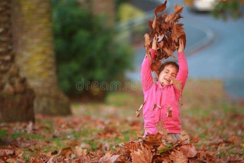 Porträt im Freien des jungen glücklichen Kindermädchens, das mit Herbst L spielt lizenzfreie stockbilder