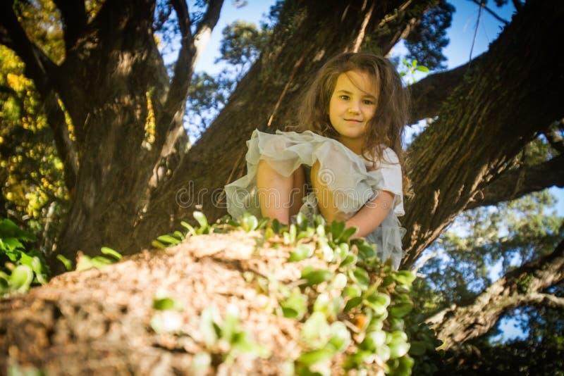 Porträt im Freien des Kleinkindmädchens in magischem Wald, schwingo lizenzfreie stockfotografie