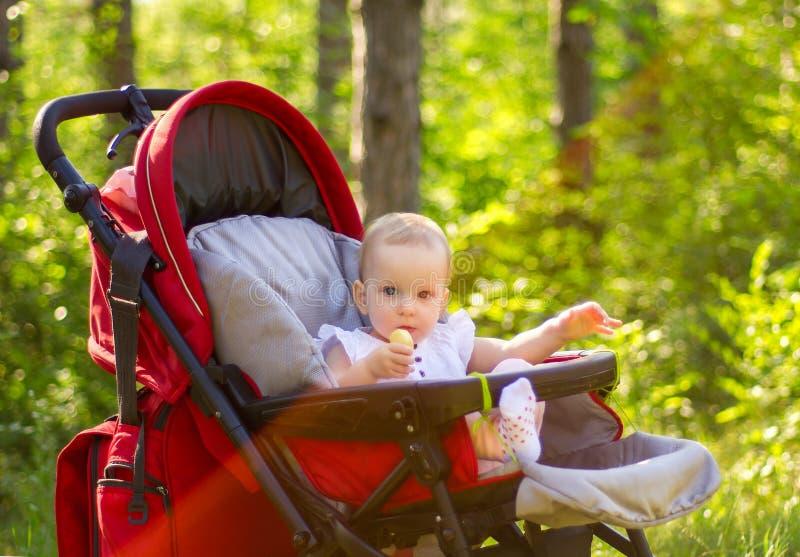 Porträt im Freien des süßen kleinen asiatischen Babys, das im Spaziergänger sitzt und eine Apfelscheibe isst stockfotos