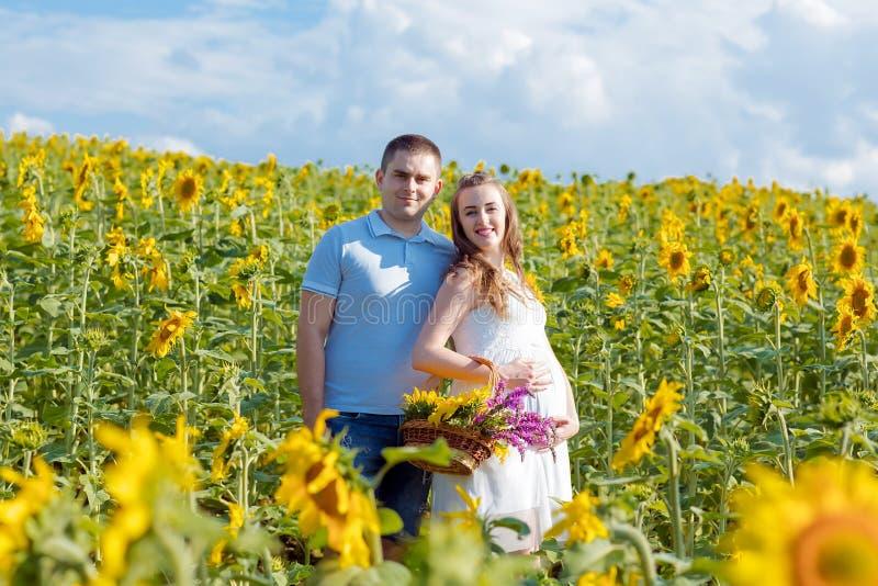 Porträt im Freien von jungen schwangeren Paaren auf dem Sonnenblumengebiet an einem hellen sonnigen Tag Authentisches Lebensstil- stockfotos