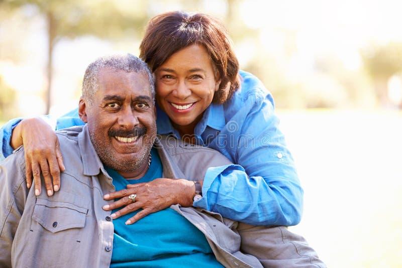 Porträt im Freien von liebevollen älteren Paaren stockbilder