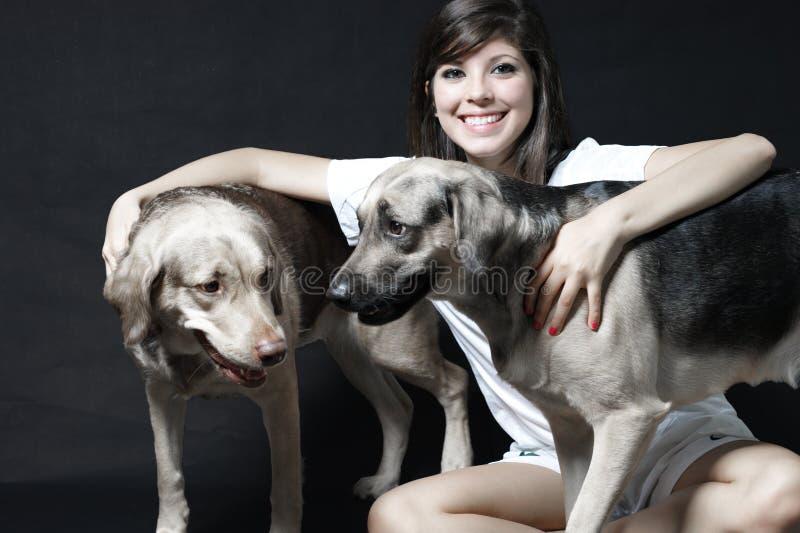 Porträt mit den Haustieren stockfoto