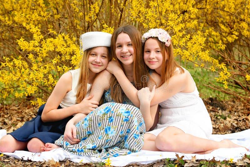 Porträt mit drei Mädchen stockfoto