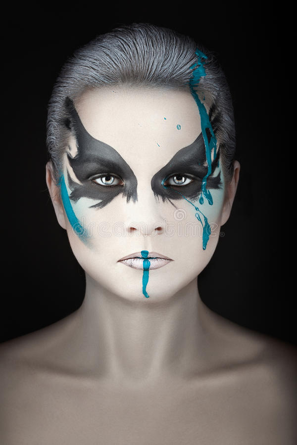 Porträt mit Streifen der Farbe lizenzfreie stockbilder