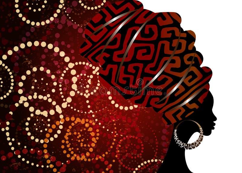 Porträt-schöne Afrikanerin im traditionellen Turban, Kente-Kopfverpackung, dashiki Drucken, Afrofrauenschal-Vektorschattenbild Af lizenzfreie abbildung
