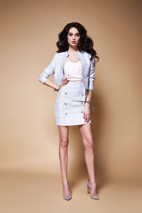 Porträt sexy vorbildlicher Geschäftsdame DA der recht schönen Mode lizenzfreies stockfoto