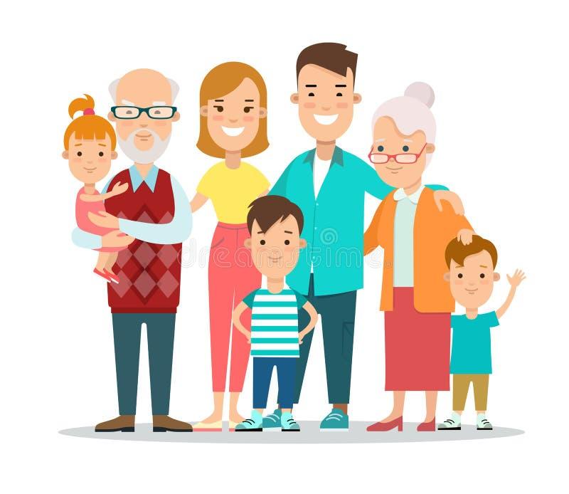 Porträt-Vektorillustration flacher Art glücklicher Familie stehende lizenzfreie abbildung