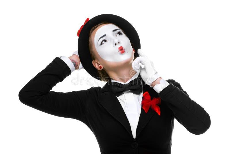 Porträt vom durchdachten und erinnert sich an Pantomimen lizenzfreie stockfotografie