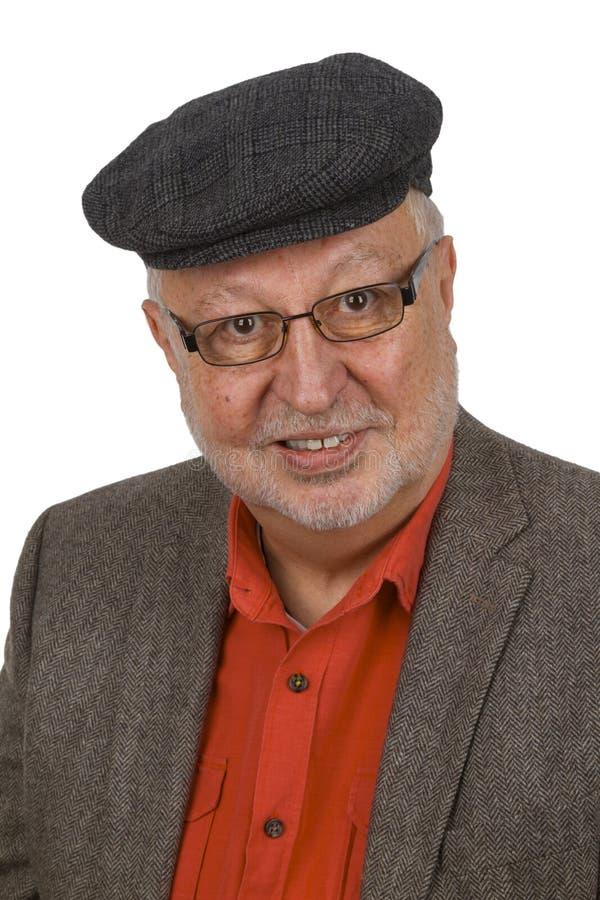 Porträt vom zufälligen Senior mit Gläsern lizenzfreies stockfoto