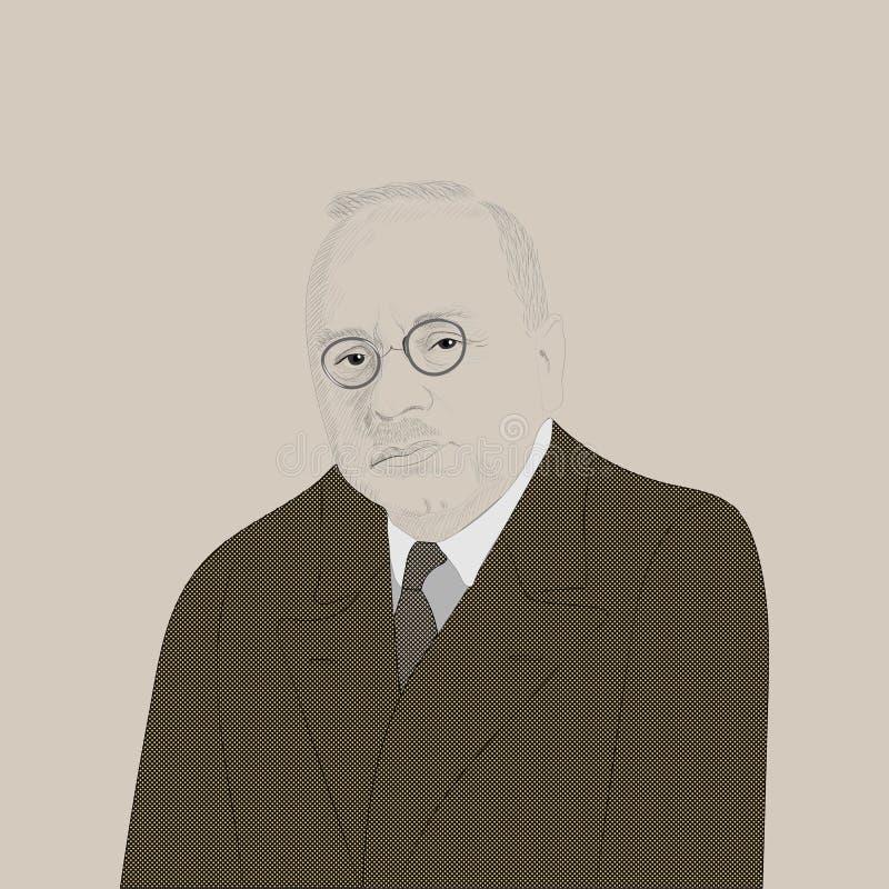Porträt von Alfred Adler lizenzfreie abbildung