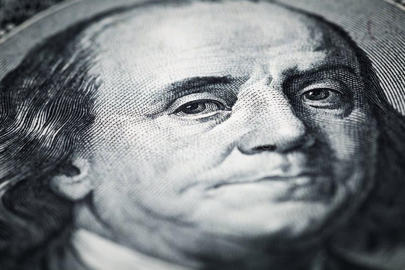 Porträt von Benjamin Franklin-Nahaufnahmeschüssen in der Makrolinse von lizenzfreies stockfoto