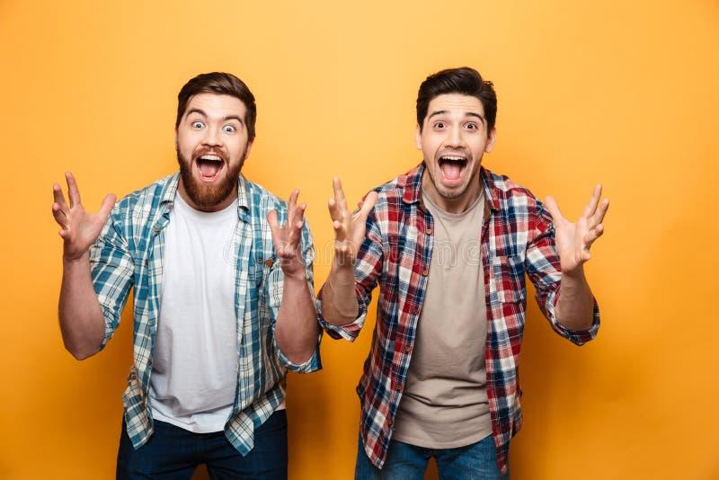 Porträt von, das zwei glücklichen jungen Männern feiern Erfolg ist lizenzfreies stockfoto