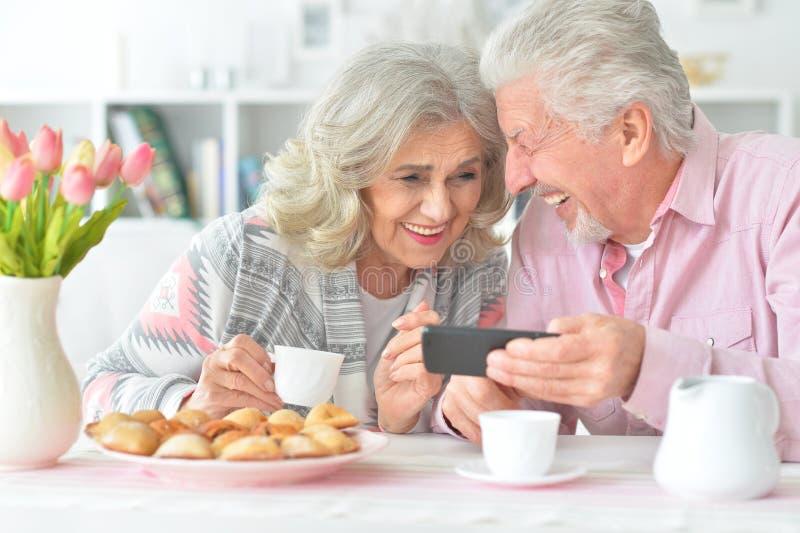 Porträt von den glücklichen älteren Paaren, die Smartphone betrachten lizenzfreie stockbilder