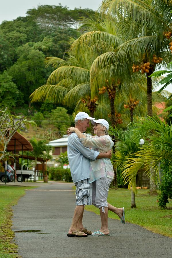 Porträt von den glücklichen älteren Paaren, die während der Ferien am tropischen Erholungsort umarmen stockfotos