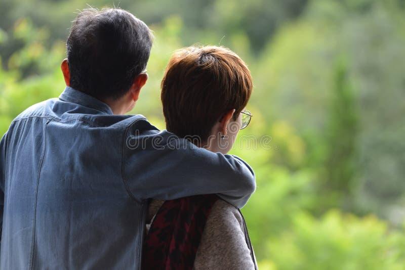 Porträt von den glücklichen romantischen älteren Paaren im Freien stockfotos