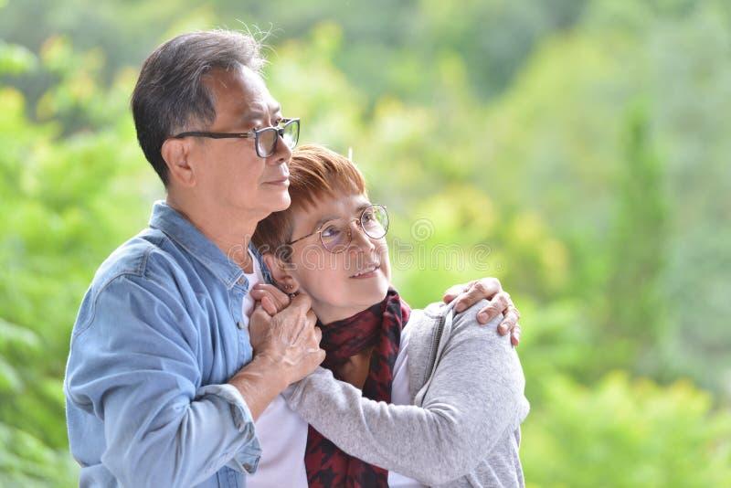 Porträt von den glücklichen romantischen älteren Paaren im Freien lizenzfreie stockbilder