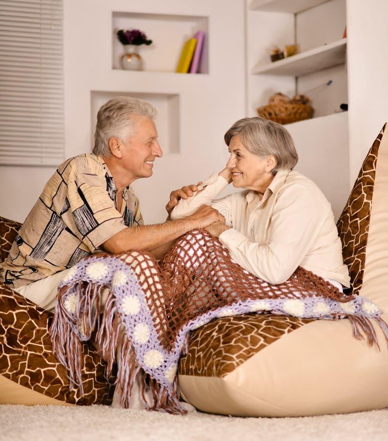 Porträt von den glücklichen schönen älteren Paaren, die zu Hause auf Sofa stillstehen lizenzfreies stockbild