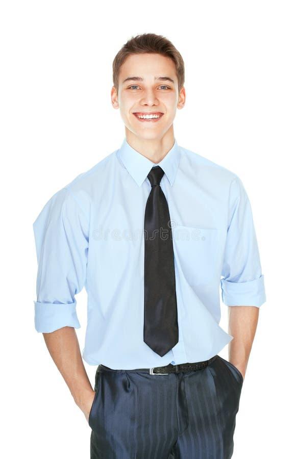 Porträt von den Jungen, die erfolgreichen Geschäftsmann lachen stockfoto