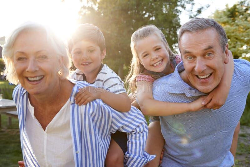 Porträt von den lächelnden Großeltern, die Enkelkinder geben, tragen Fahrfreien im Sommer-Park huckepack stockfotos