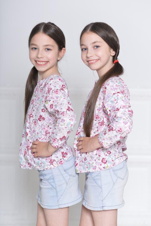 Porträt von den netten kleinen Mädchen, die auf weißem Hintergrund aufwerfen lizenzfreies stockbild