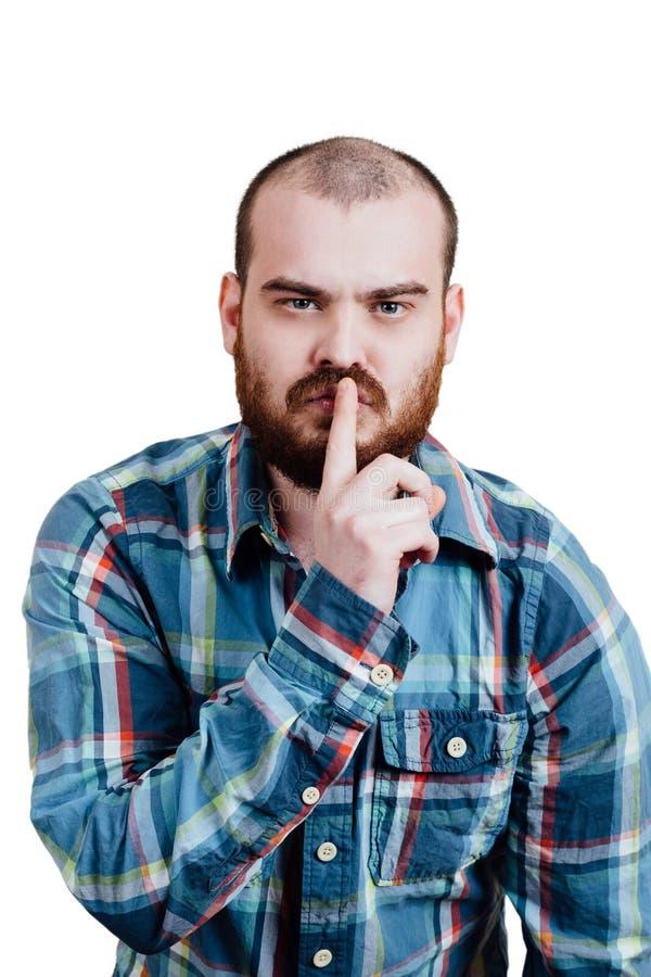 Porträt von einem rot-bärtigen, kahl werdend männlichen groben Weiß lokalisiertes b lizenzfreies stockbild