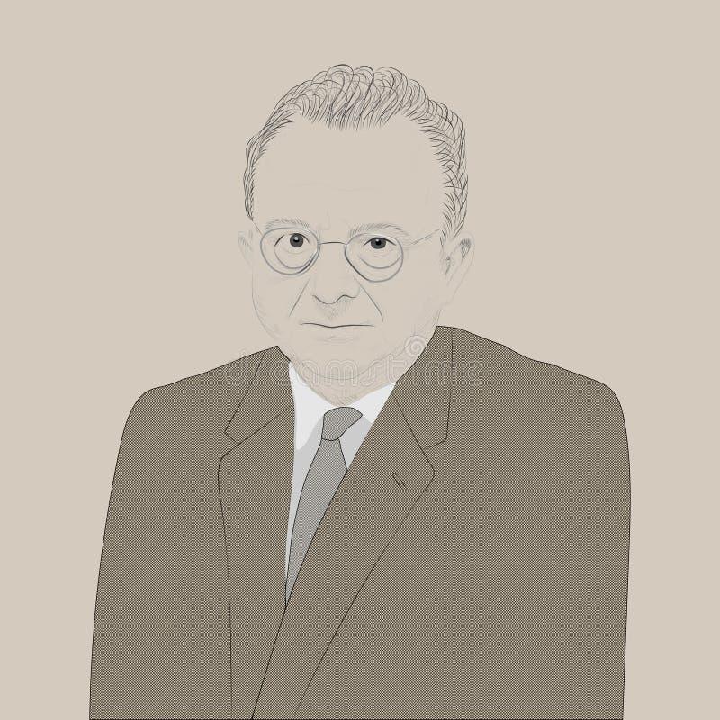 Porträt von Erich Fromm stock abbildung