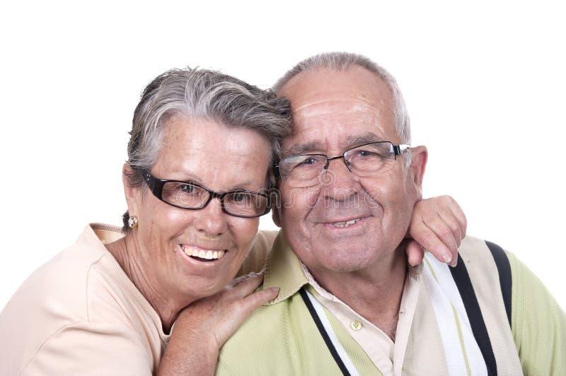 Porträt von glücklichen älteren Paaren stockbilder