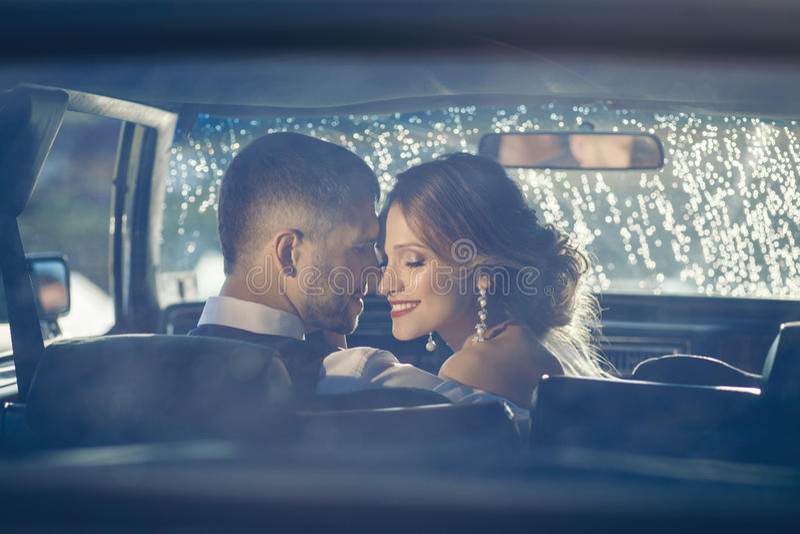 Porträt von glücklichen Jungvermähltenpaaren lizenzfreies stockbild