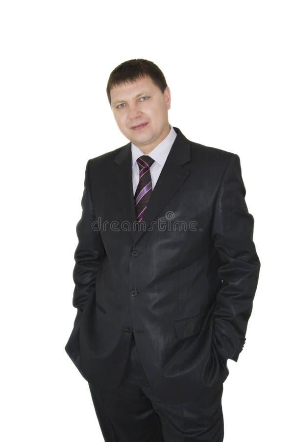 Porträt von; hübscher Geschäftsmann über weißem Hintergrund stockfotografie