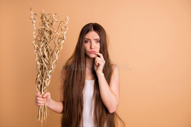 Porträt von ihr sie schön aussehende attraktive reizende düstere mürrische missfallene Dame, die in der Hand Trockenblumeunfall h stockbilder