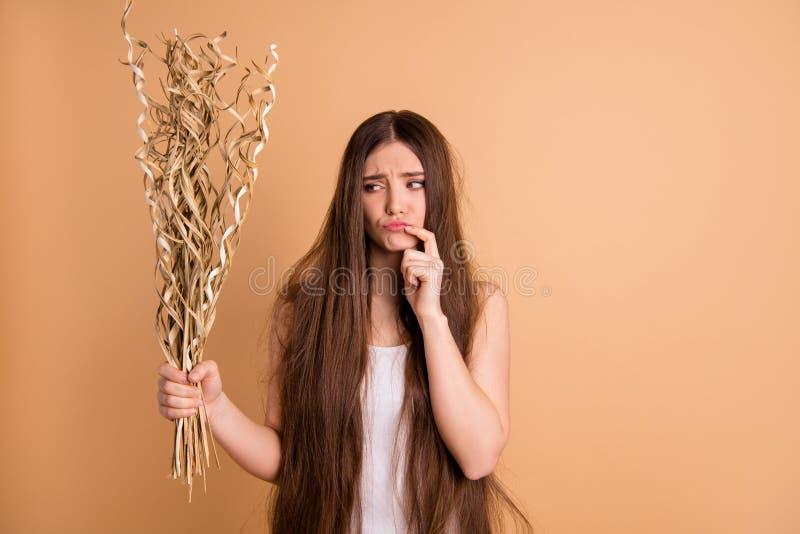 Porträt von ihr sie schön aussehende attraktive reizende traurige missfallene Dame, die in der Hand Trockenblumedisaster recovery stockfotos