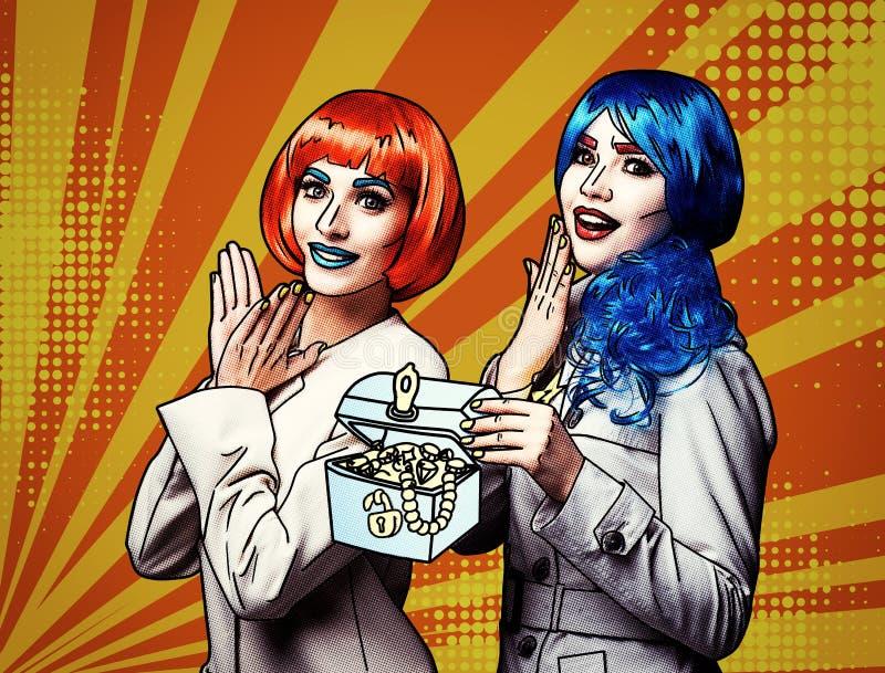 Porträt von jungen Frauen in der komischen Pop-Arten-Make-upart auf gelb-orangeem Karikaturhintergrund stock abbildung