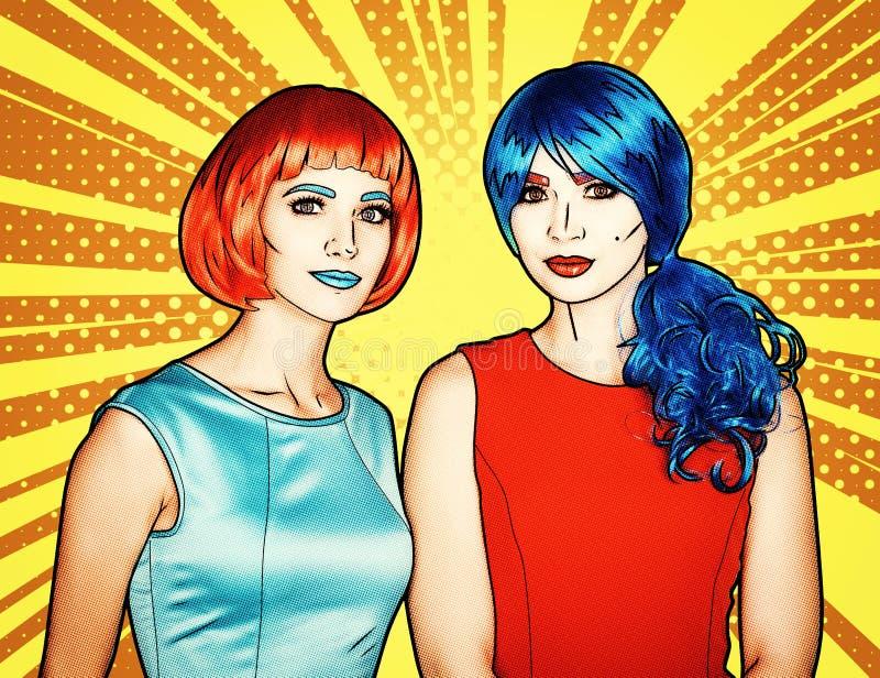 Porträt von jungen Frauen in der komischen Pop-Arten-Make-upart Frauen in den roten und blauen Perücken stock abbildung
