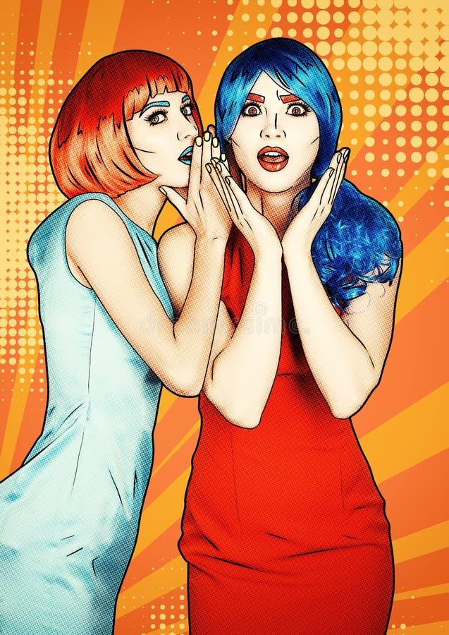 Porträt von jungen Frauen in der komischen Pop-Arten-Make-upart Entsetzte Frauen in den roten und blauen Perücken stock abbildung